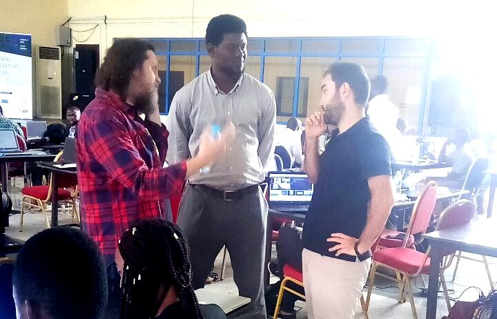 Justin Arenstein (Code for Africa), Blaise Aboh and Jacopo Otavini (Code for Africa) discussing a possible partnership